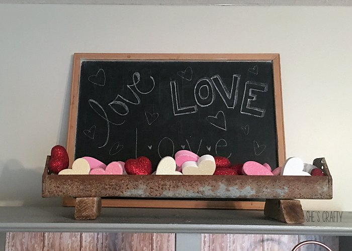 vintage chicken feeder, chalkboard valentines decor
