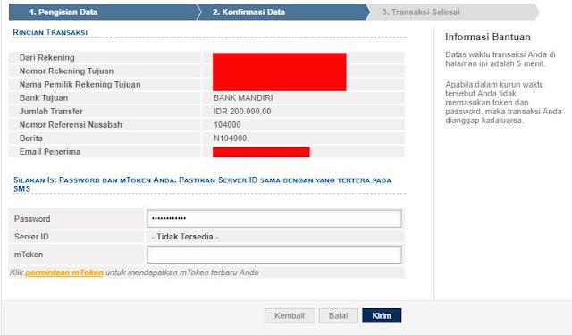 Konfirmasi data transfer internet banking