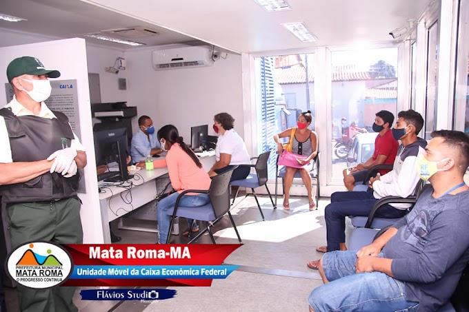 Em Mata Roma, Unidade Móvel da Caixa Econômica Federal inicia atendimento para beneficiários do auxilio emergencial.