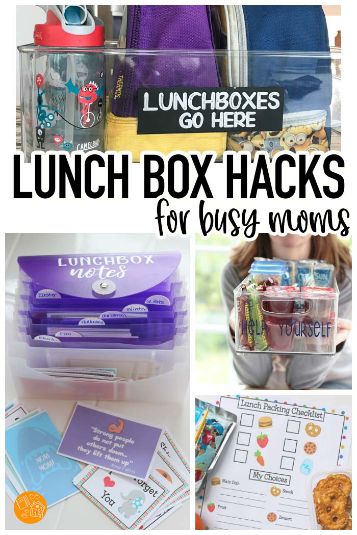 Make the school year easier with these GENIUS lunch box hacks! Includes printable lunch box notes, school lunch ideas, organizing tips and so much more. LOVE the lunch box note organizer! #backtoschool #lunchboxlove #lunch #hacks