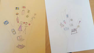 Dan Jon Jr and PippaD's hands with what is important to them drawn in them.