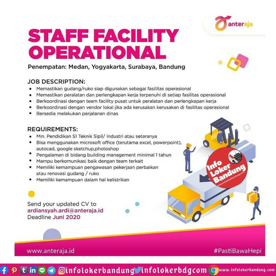 Lowongan Kerja Staff Facility Operational Anter Aja Bandung Mei 2020