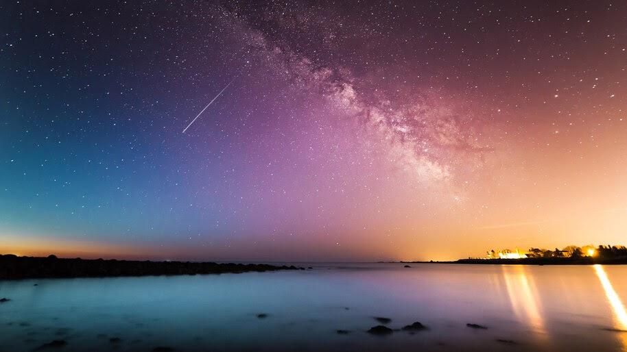 Night, Sky, Sea, Coast, Scenery, Horizon, 4K, #6.980
