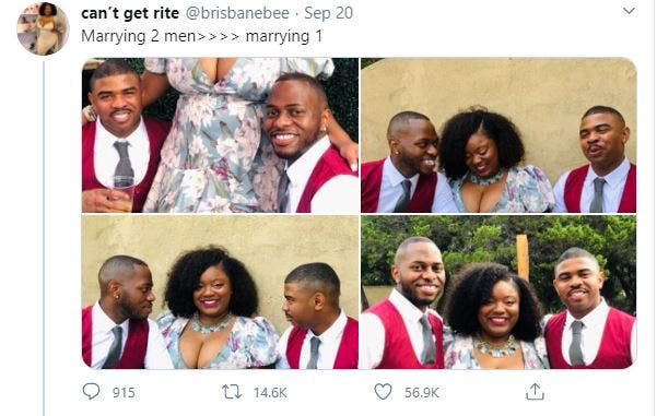 Excited Lady Shows Off Her Two Husbands