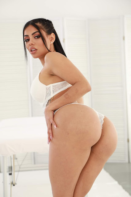 Canela Skin showing perfect big booty sexy ass white lingerie