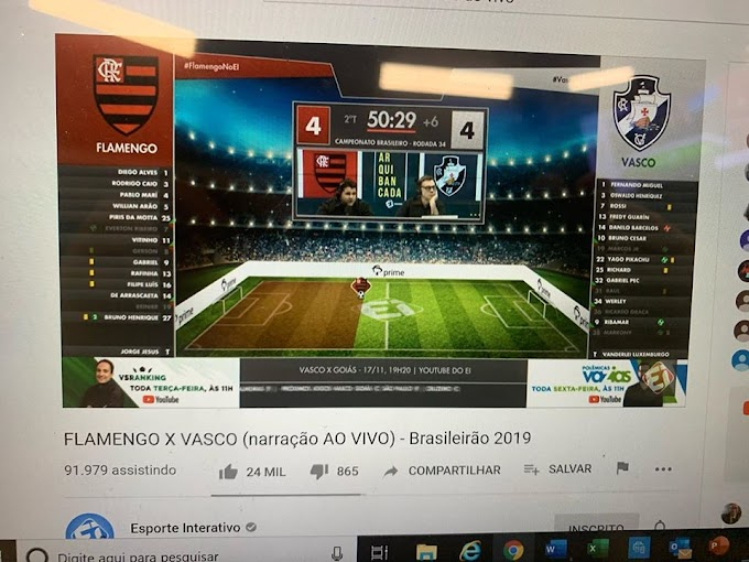 Jogo fantástico entre Flamengo e Vasco rendeu uma mega audiência (histórica) ao Esporte Interativo