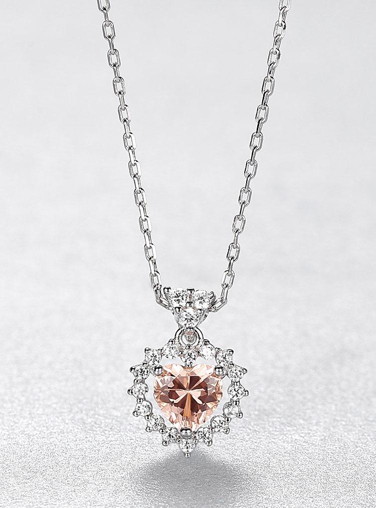 珊瑚橘愛心人造寶石 925純銀項鍊