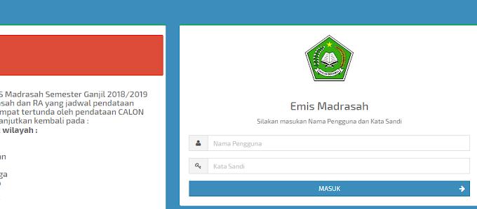 Pengumuman Pendataan EMIS Madrasah Semester Ganjil 2018/2019