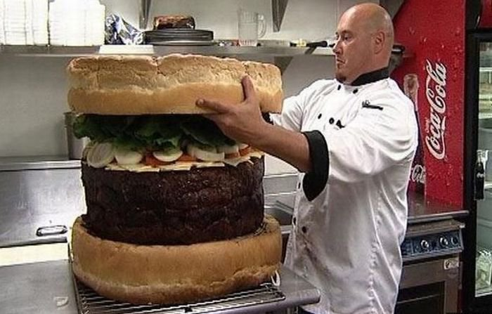 A giant hamburger