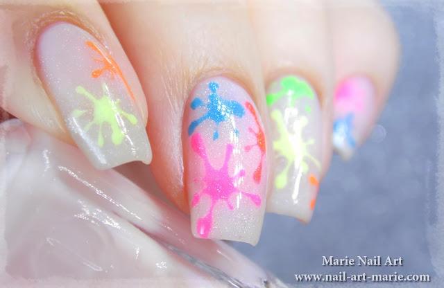 Nail Art Tâches Fluo Holographiques3