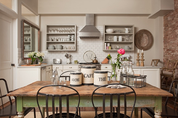 Farmhouse Style Kitchen with White Subway Tiles Chrome Vent Hood Rustic Dining Room Table