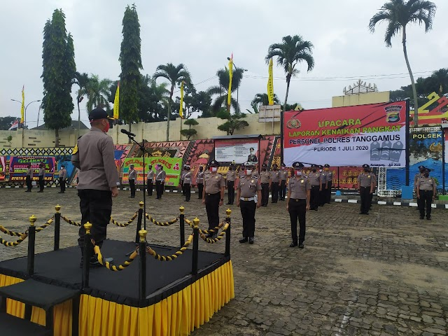 HUT ke-74 Bhayangkara, 21 Anggota Polres Tanggamus Mendapat Kenaikan Pangkat