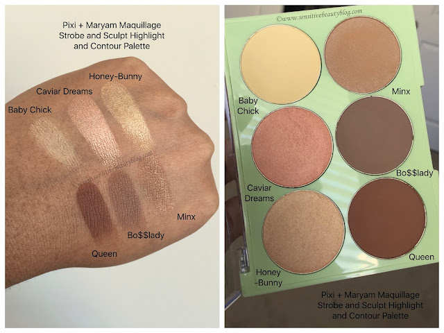 Pixi and Maryam Maquillage Strobe and Sculpt Palette Swatched on dark skin