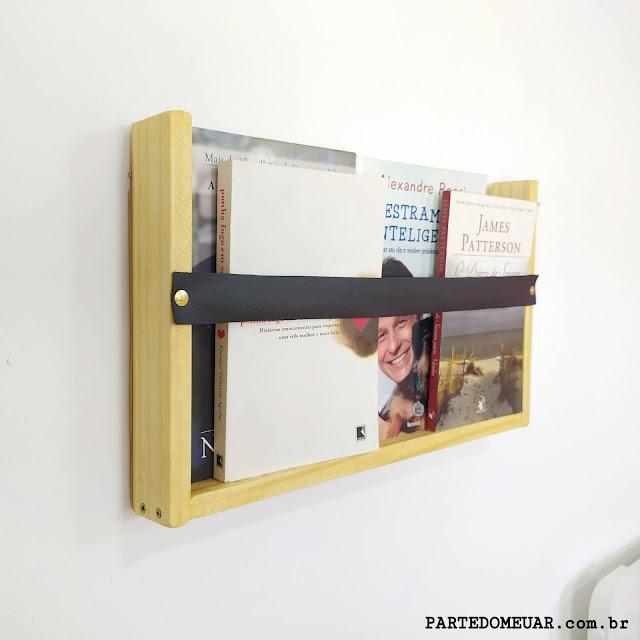 porta livros madeira
