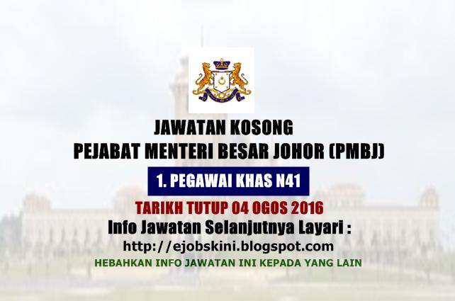 Jawatan Kosong Pejabat Menteri Besar Johor (PMBJ)