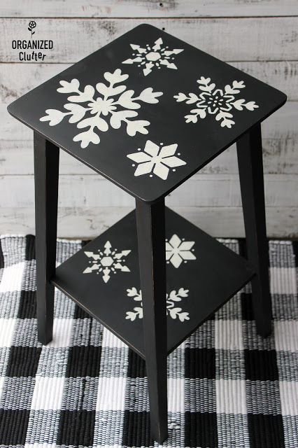 Photo of small table stenciled with snowflakes