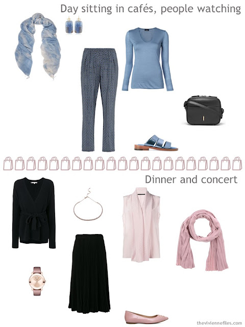 two outfits from a black and muted pastel travel capsule wardrobe