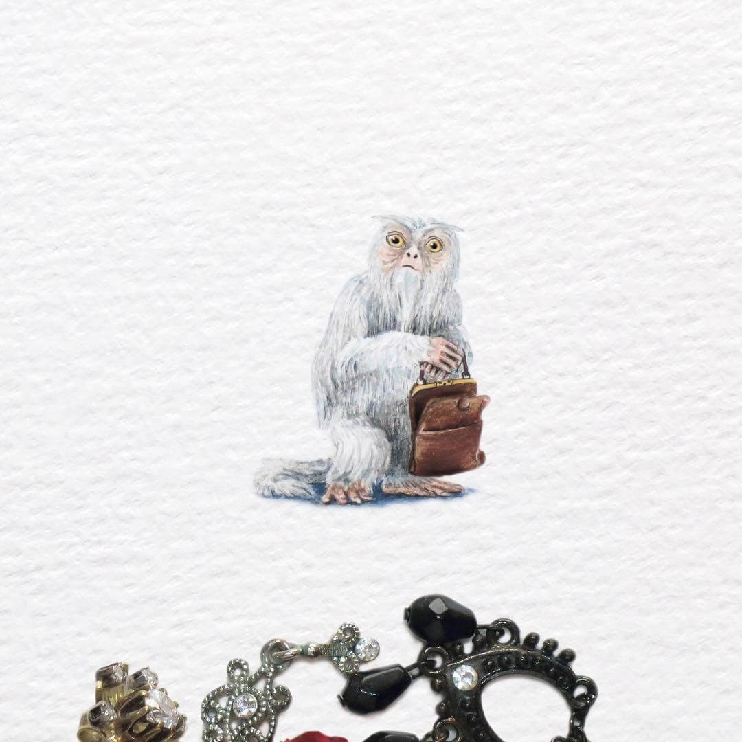 05-Demiguise-from-Fantastic-Beasts-Frank-Holzenburg-Animals-and-Fantasy-Creatures-Tiny-Paintings-www-designstack-co