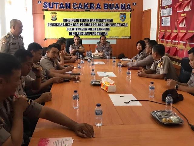 Tim LHKPN Itwasda Polda Lampung Lakukan Bimtek Pejabat Polres Lamteng