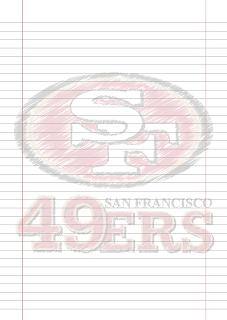 Folha Papel Pautado San Francisco 49ers rabiscado PDF para imprimir na folha A4