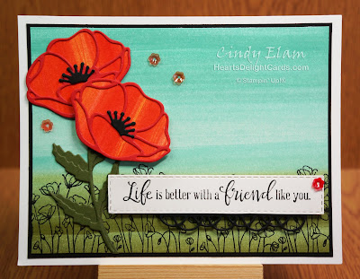 Painted Poppies, Baby-wipe technique, Stampin' Up!, Heart's Delight Cards