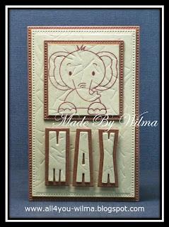 """Een klein kaartje voor Max. """"Max"""" met schaduw en een gestempelde olifant. A small card for Max. """"Max"""" with shadow and a stamped elephant."""