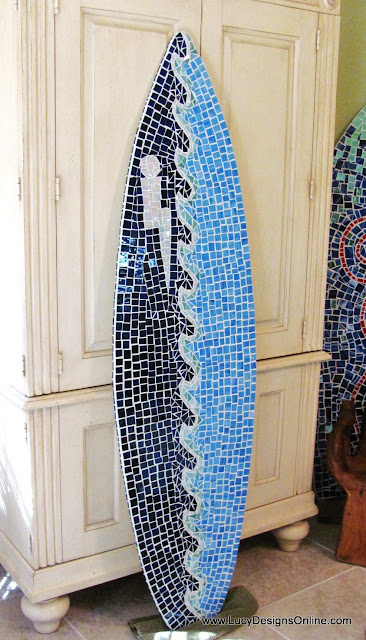 mosaic wave surfboard art
