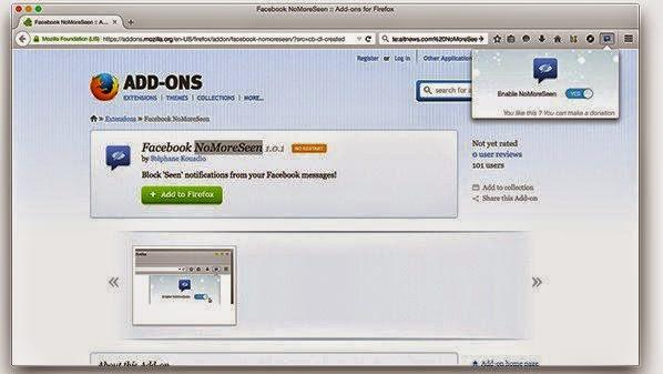 اضافة لمتصفح فاير فوكس لمنع تمت القراءة Seen للفيس بوك