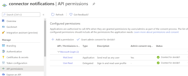 Enable send mail permission on azure ad app