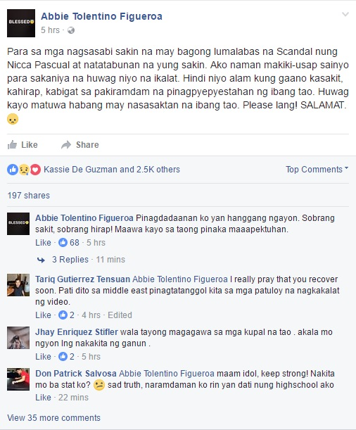 Abbie Tolentino Is Back On Social Media And Has Spoken On Nicca Pascual's Video Scandal! MUST READ!