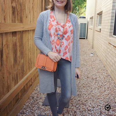 awayfromblue Instagram | movie day mums tyle grey skinny jeans maxi cardigan with neon leopard print tee orange peach small love bag
