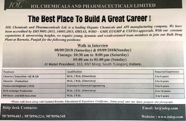 IOL Chemicals & Pharmaceuticals Ltd - Walk-In Interviews for Production, Quality Assurance, Quality Control, Store at 8 & 9 Sep