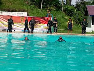 Apel Dansat Tersebar di jajaran Korem 042 Garuda Putih di Tutup Dengan Renang Militer