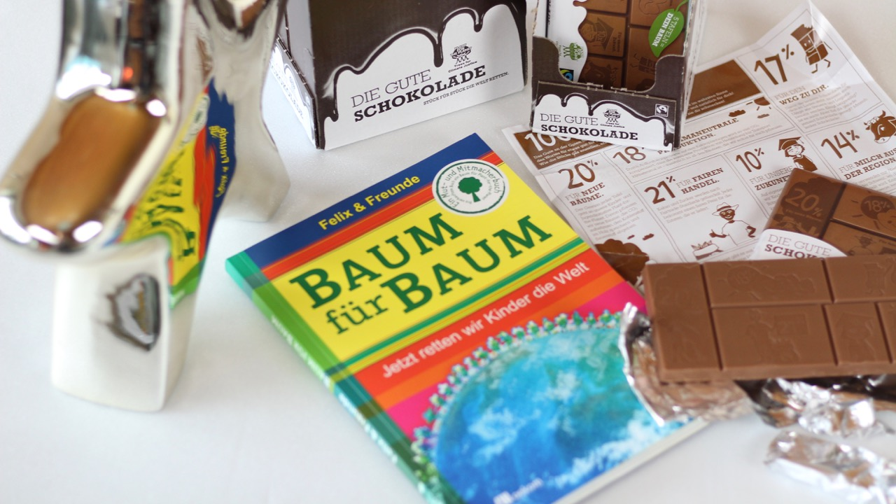 Die gute Schokolade und das Buch Baum für Baum von Plant-for-the-Planet
