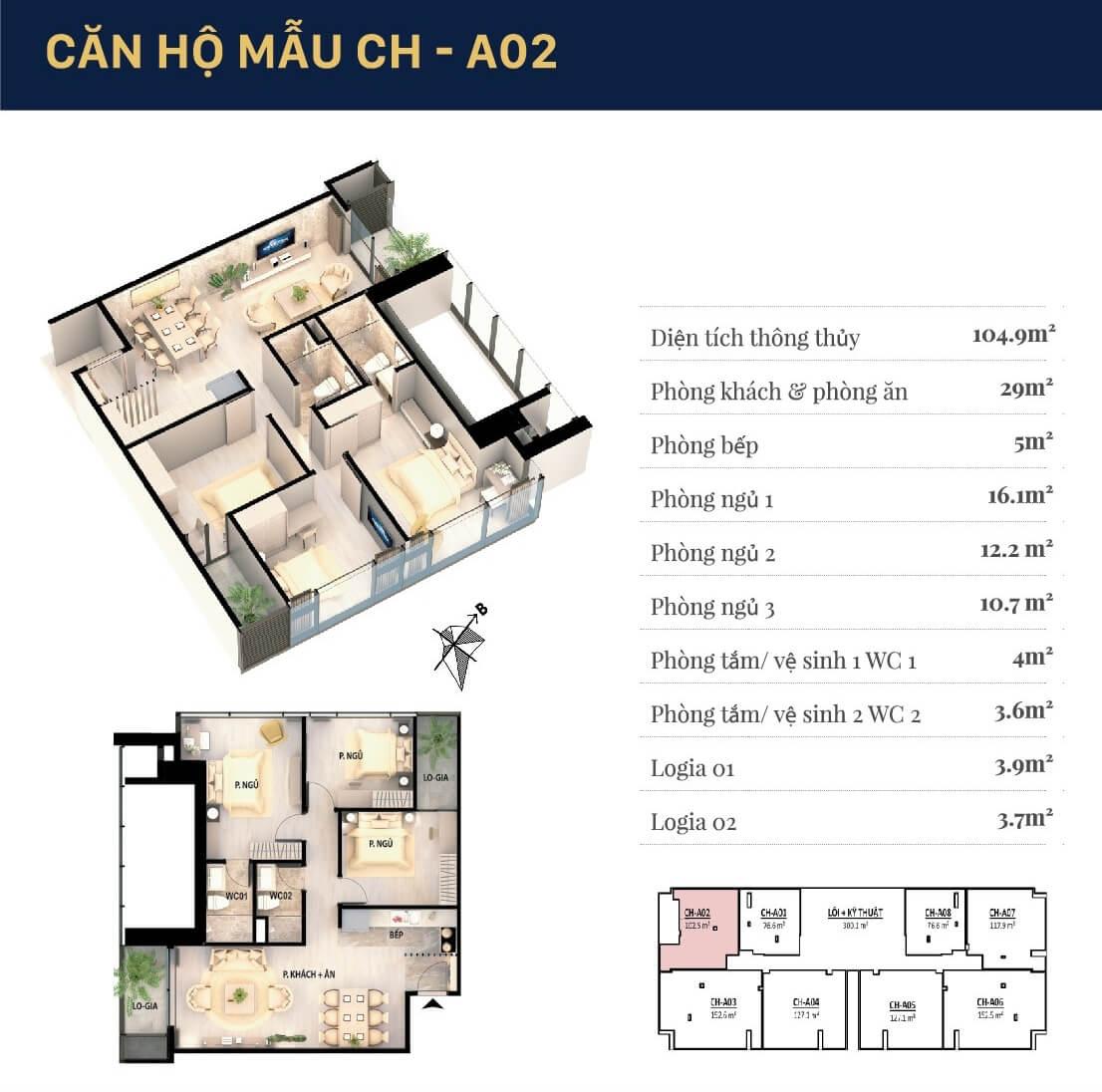 Chi tiết căn hộ 02 chung cư Grandeur Palace
