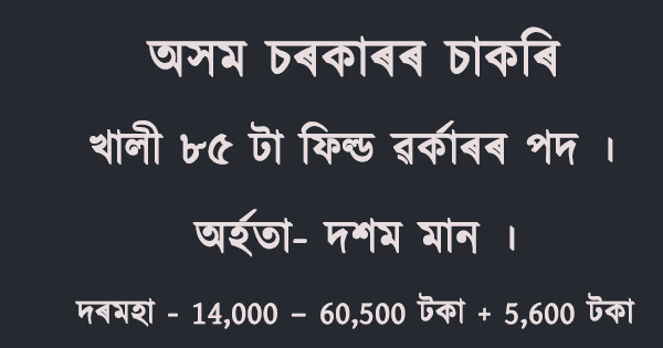 Soil Conservation Assam Jobs 2021