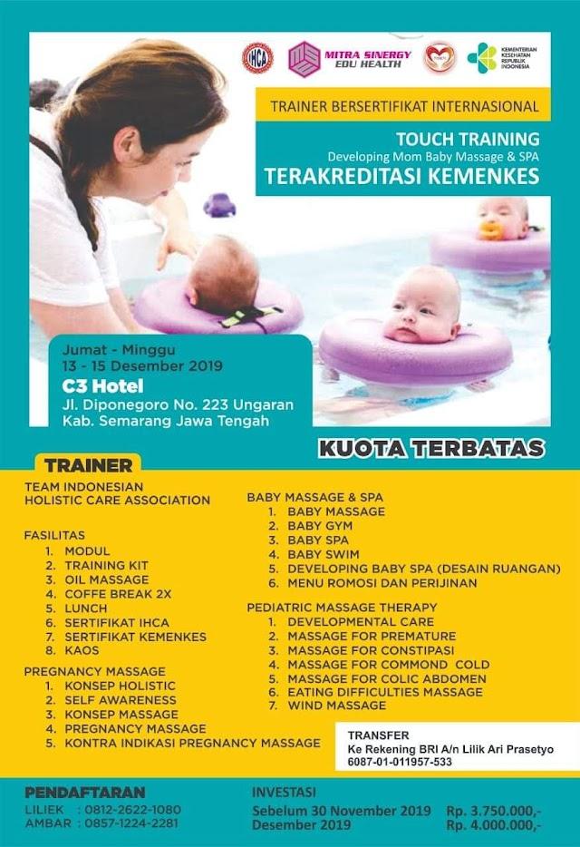 Pelatihan Baby Spa 13-15 Desember 2019
