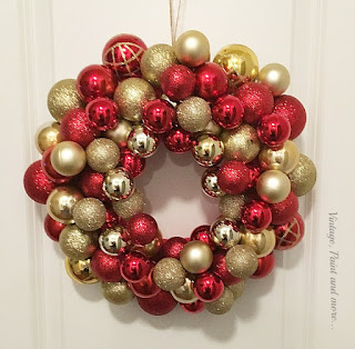 Vintage, Paint and more... a wreath made with dollar store ornaments on a styrofoam wreath form