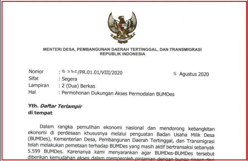 Surat Permohonan Mendes PDTT tentang Dukungan Permodalan BUMDes  Surat Permohonan Mendes PDTT tentang Dukungan Permodalan BUMDes