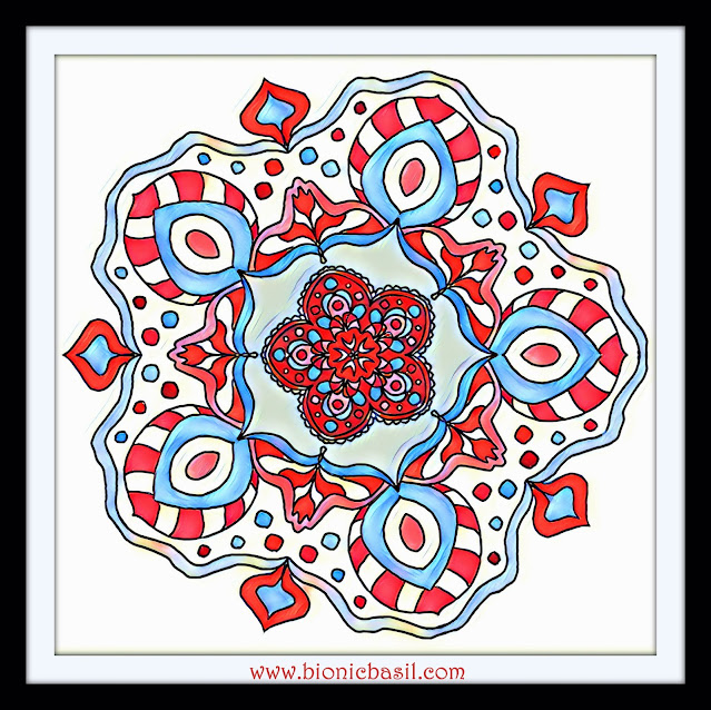 Mandalas on Monday ©BionicBasil® Colouring With Cats Mandala #116 coloured by Cathrine Garnell