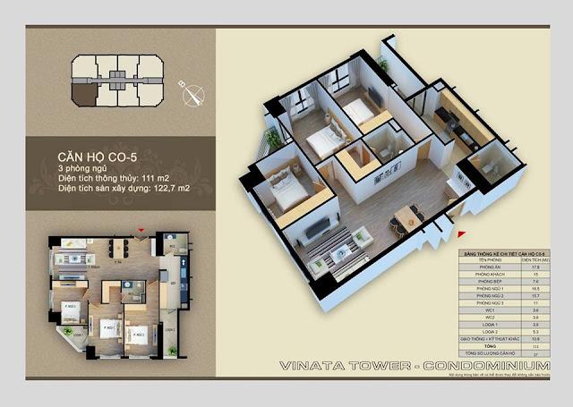 Thiết kế căn hộ C-05 Vinata Towers, 111m2 - 3PN,2VS