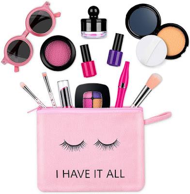 Hitituto Kids Makeup Kit for Girls, 18 Pcs Pretend Play Makeup Set Toys