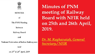 Minutes of PNM meeting of Railway Board with NFIR held on 25th and 26th April, 2019