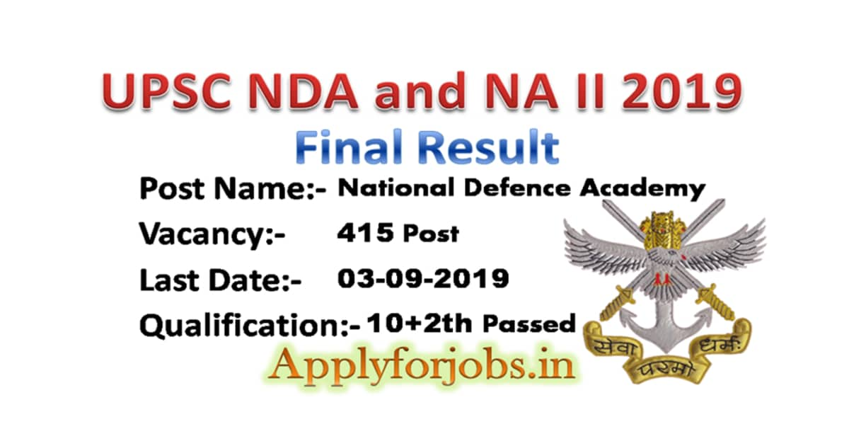 NDA and NA II 2019 Final Results Declare, applyforjobs.in