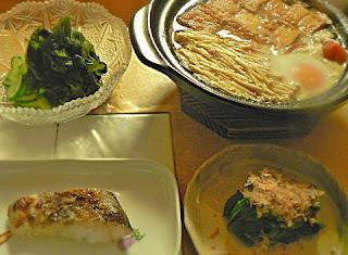 オヤジ定食 鍋 焼き鱈 ニラのおひたしと酢の物