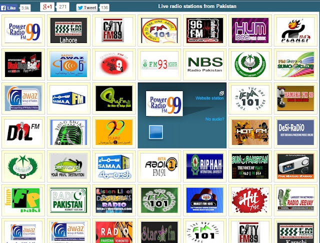 Pakistan and Indian music free radio station website's homepage