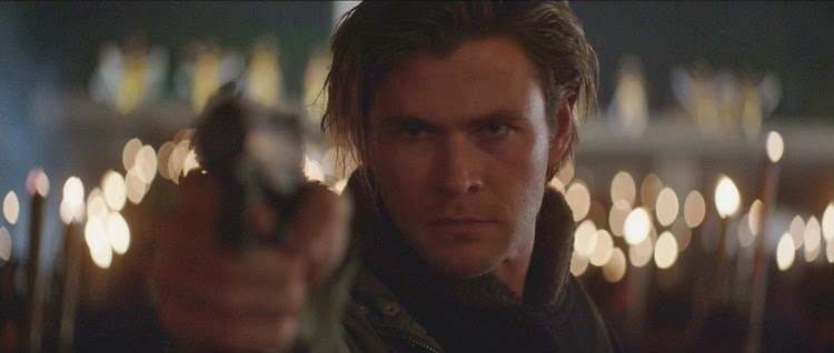 Chris Hemsworth stares down the villain as Hathaway in Blackhat.