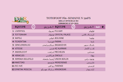 PRONOSTIC TOTOFOOT 12 Fin-SEMAINE N° 591FS