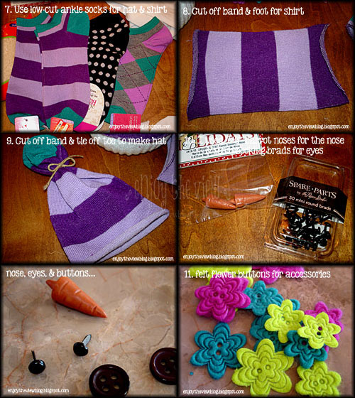 second set of instructions for making sock snowmen