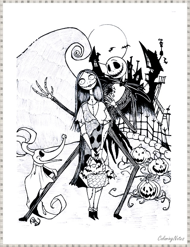 Coloring Pages Nightmare Before Christmas - Free Printable ... | 830x640